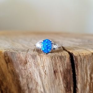 SIZE 5 - Blue Opal Small Sweetheart Ring